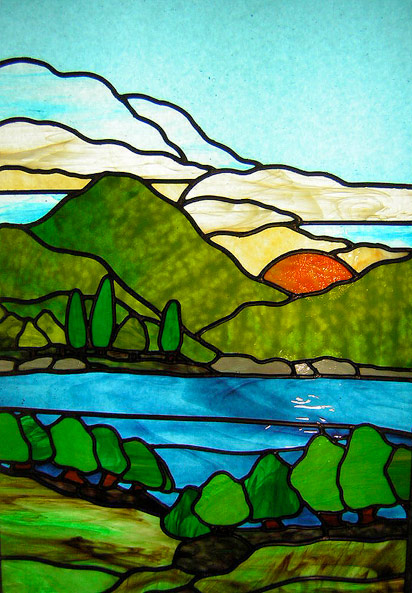Lago restaurant azure stained glass for Design paysage